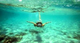 snorkeling in blue lagoon